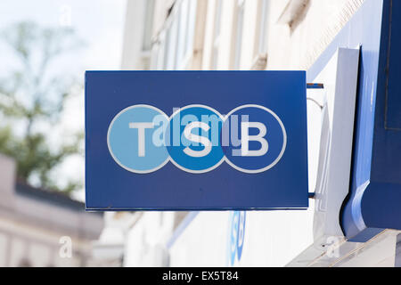 TSB bank sign on the outside of a branch in Cardiff, Wales. - Stock Photo