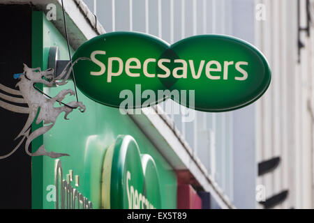 Specsavers sign on the outside of a store in Cardiff, Wales. - Stock Photo