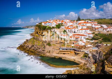 Azenhas do Mar, Portugal seaside town. - Stock Photo