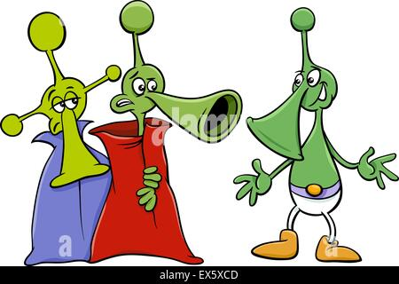 Cartoon Illustration of Funny Aliens or Martians Comic Characters - Stock Photo