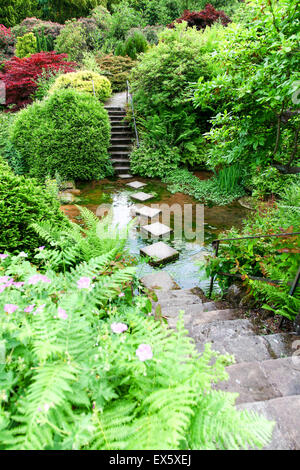 Steps and stepping stones leading across a stream at Alton Towers Estate Theme Park Gardens Staffordshire England UK