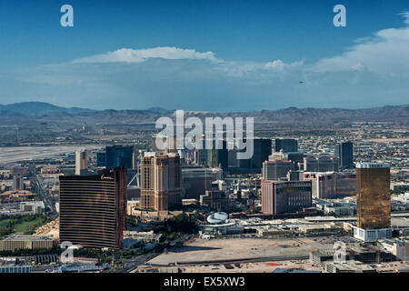 Las Vegas Skyline and the strip helicopter view - Stock Photo