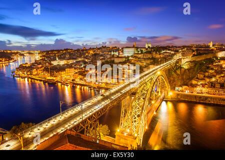 Porto, Portugal skyline over Dom Luis IV Bridge. - Stock Photo