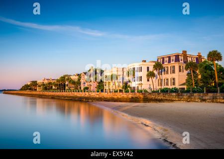 Charleston, South Carolina, USA at the historic homes on The Battery. - Stock Photo