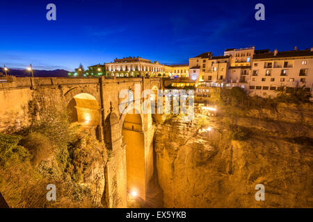 Ronda, Spain at the Puente Nuevo Bridge over the Tajo Gorge. - Stock Photo