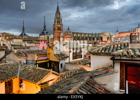 Toledo, Spain view of the town from a rooftop. - Stock Photo