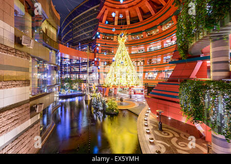 Entrance to Canal City shops during the holiday season in Fukuoka, Japan. - Stock Photo