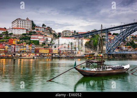 Porto, Portugal skyline on the Douro River at dusk. - Stock Photo
