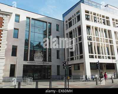 A view of Westminster Magistrates Court in London - Stock Photo