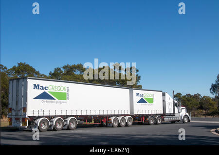Australian heavy goods vehicle truck at Pheasants nest service station on the motorway in new south wales,australia - Stock Photo