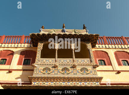 Balcony in the courtyard of the Chandra Mahal City Palace, Jaipur, Rajasthan, India - Stock Photo