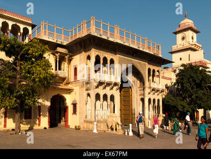 Entrance to the city palace of Jai Singh II., Chandra Mahal, Jaipur, Rajasthan, India - Stock Photo