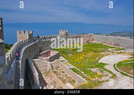 Castle walls, Samuil's Fortress, Unesco World Heritage Site, on Lake Ohrid, Ohrid, Macedonia - Stock Photo