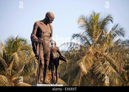 Mahatma Gandhi statue, Velha Goa or Old Goa, near Panaji or Panjim, Goa, India - Stock Photo