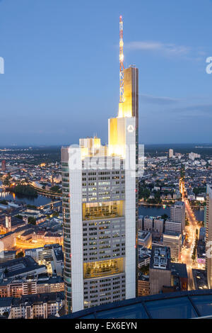 The Commerzbank Tower skyscraper in the city of Frankfurt Main, Germany - Stock Photo