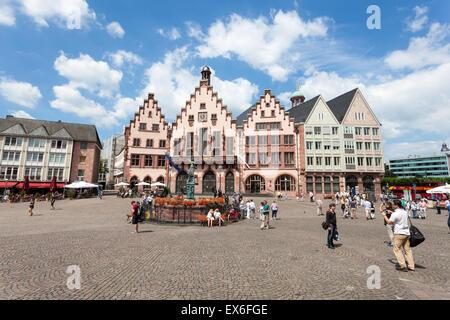 Historic Roemberberg square in the city of Frankfurt Main, Germany - Stock Photo