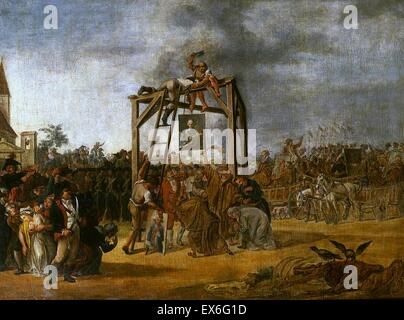 1794 Hanging of traitors in effigy at Warsaw's Old Town Market. Painting by Jan Piotr Norblin. The supporters of - Stock Photo