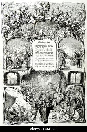 Title page illustration from a British newspaper of Christmas 1860 - Stock Photo