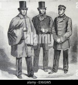 Engraving depicting the new uniforms of postal staff and the General Post Office. Left to right: Letter Carrier, - Stock Photo