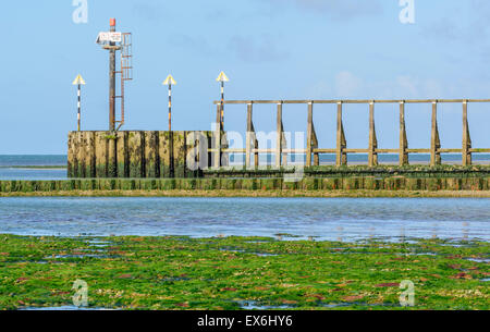 Entrance to the River Arun estuary showing navigation lights. - Stock Photo