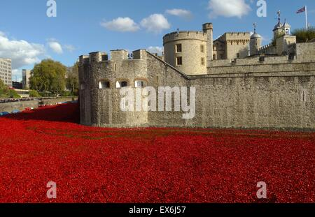 Art installation titled 'Blood Swept Lands and Seas of Red'. The dry moat was filled with 800,000 ceramic poppies - Stock Photo