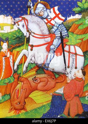 St. George killing the Dragon, an illustration from a Book of Hours, Normandy, 1430-40. From The Island Race, a - Stock Photo