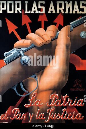 Spanish civil war nationalist (francoist) poster 1937 - Stock Photo