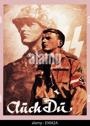 Propaganda poster: Auch Du. Waffen SS recruitment card by Ottomar Anton for the Hitler Youth - Stock Photo