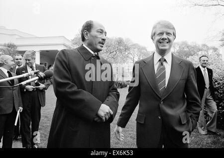 Photograph of the Egyptian President Anwar Sadat with President of the United States Jimmy Carter at the White House. - Stock Photo