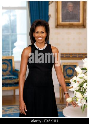 Official portrait of First Lady Michelle Obama (1964-). An American lawyer and writer. Photographed by Joyce N. - Stock Photo