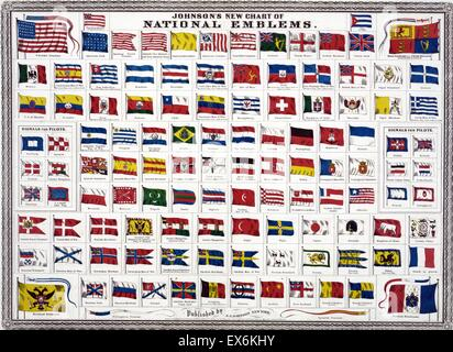 world national and colonial flags 1914 - Stock Photo