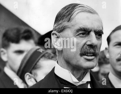 British Prime Minister Neville Chamberlain Signing Munich Agreement