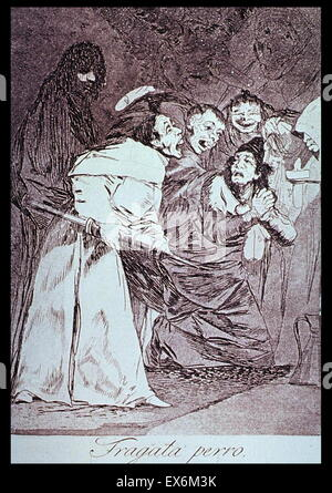Print by Francisco Goya (1746-1828) Spanish romantic painter and printmaker regarded both as the last of the Old - Stock Photo