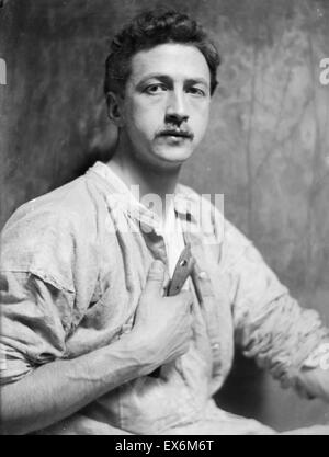 Photograph of Chester Beach (1881-1956) American sculptor who was known for his busts and medallic art. Dated 1908 - Stock Photo