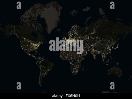 World at night in 2012 showing a world map in mercator projection world at night in 2012 showing a world map in mercator projection this satellite gumiabroncs Image collections