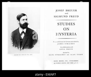 Title page from Joseph Breuer (1842-1925) and Sigmund Freud's (1856-1939) Studies on Hysteria. Dated 1891. - Stock Photo