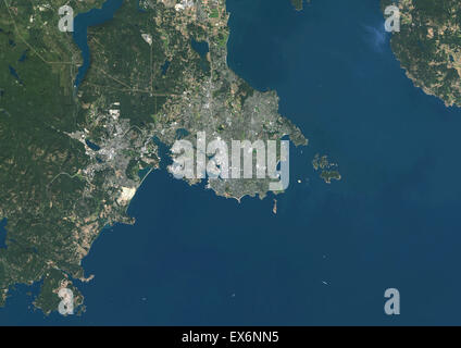 Colour satellite image of Victoria, British Columbia, Canada. Image taken on September 15, 2014 with Landsat 8 data. - Stock Photo