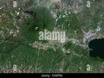 Satellite Image Of El Salvador With San Salvador Stock Photo - Satellite image photo of el salvador