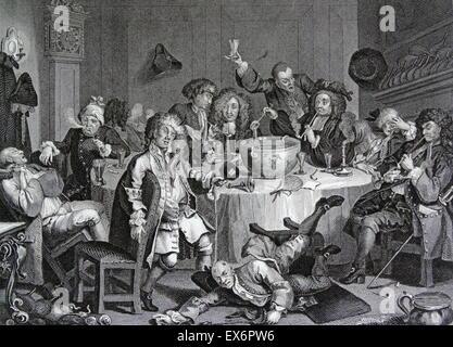 Engraving by British artist & engraver, William Hogarth 1697–1764: 'A Midnight Modern Conversation - Stock Photo