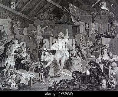 Engraving by British artist & engraver, William Hogarth 1697–1764: Strolling Actresses Dressing in a Barn 1738. - Stock Photo