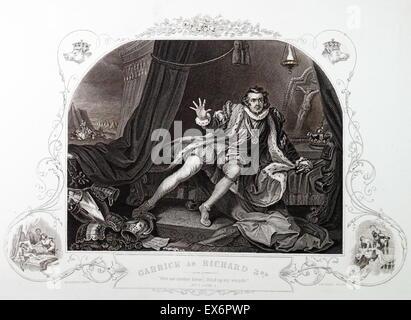 Engraving by British artist & engraver, William Hogarth 1697–1764: The actor David Garrick (1717-79), the greatest - Stock Photo