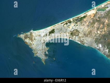 Colour satellite image of Dakar, Senegal. Image taken on August 1, 2014 with Landsat 8 data. - Stock Photo