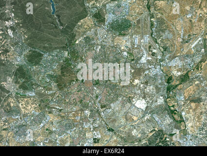 Colour satellite image of Madrid, Spain. Image taken on June 18, 2014 with Landsat 8 data. - Stock Photo