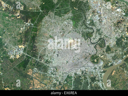 Colour satellite image of Ho-Chi-Minh City, Vietnam. Image taken on January 21, 2014 with Landsat 8 data. - Stock Photo