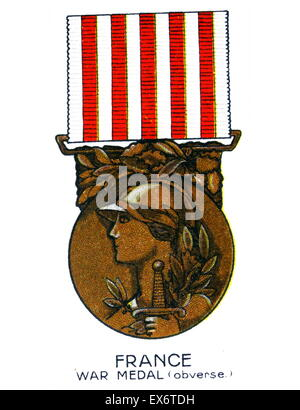 1914-1918 Commemorative War Medal (obverse) France was awarded to soldiers and sailors for service in World War - Stock Photo