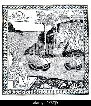 The Discovery of the Indes, 1493, woodcut Italian School illustration of Columbus' voyage - Stock Photo