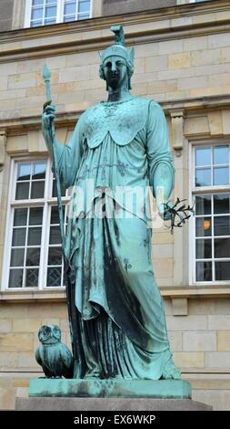 Denmark, Copenhagen: Statue of Minerva (Etruscan: Minerva) was the Roman goddess of wisdom and sponsor of arts, - Stock Photo
