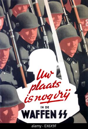 Nazi propaganda poster to recruit Dutch Waffen SS volunteers. 'Nazi; Your Place is Still Vacant in the Waffen SS' - Stock Photo