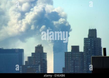 The September 11 (or 9/11) Islamic terrorist group al-Qaeda attacks on New York City, September 11, 2001. Two of - Stock Photo