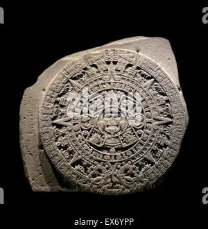 The Aztec calendar stone, Sun stone, or Stone of the Five Eras is a late post-classic Mexican sculpture saved in - Stock Photo
